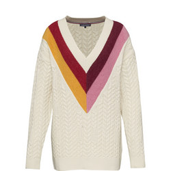 Colour-Blocked V-Neck Jumper