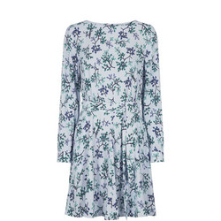Leaf Print Crepe Dress