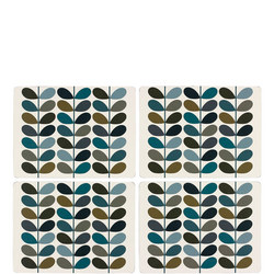 Placemat Set 4 Multi Stem Khaki and Marine