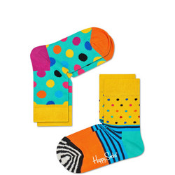 Kids Spot Stripe Socks Two-Pack