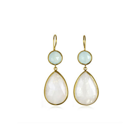 Margaret Elizabeth Aqua Moonstone Earrings