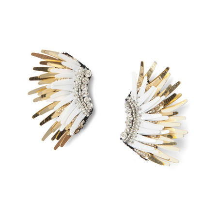 Mignonne Gavigan White & Gold Mini Madeline Earrings
