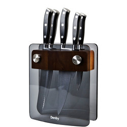 Five-Piece Smoked Glass Knife Block Set