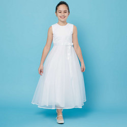 Sleeveless Silk Bow Communion Dress