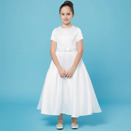 Pearl Collar And Bow Communion Dress