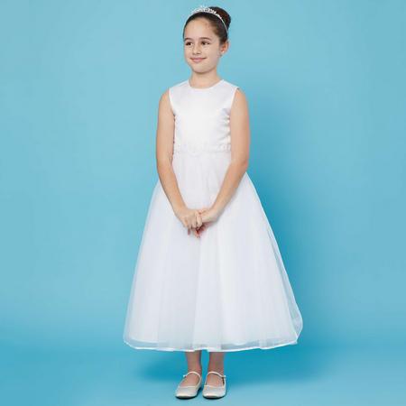 Diamanté And Pearl Waist Communion Dress