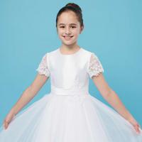Lace Sleeve Embellished Communion Dress