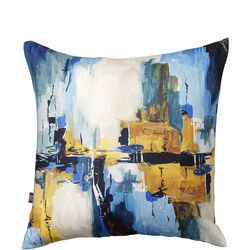Solas Cushion Blue-Ochre 45cm x 45cm