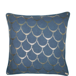 Cotton With Fringe Teal Cushion