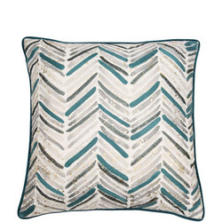 Embroidered Chevron Cushion Teal  45 x 45cm