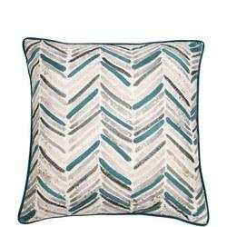 Embroidered Chevron Cushion Teal 45cm x 45cm
