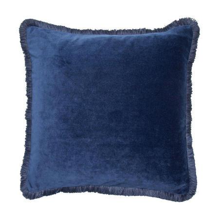 Velvet 4 Sided Fringe Cushion Navy