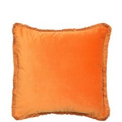 Velvet 4 Sided Fringe Cushion Orange