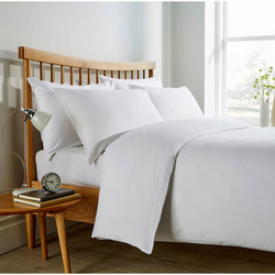Micro Check 200 Thread Count Duvet Set White