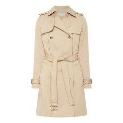 Belted Cotton Sateen Trench Coat