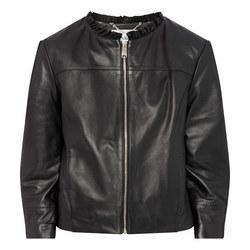 Danil Ruffle Leather Jacket