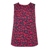 Boat Neck Heart Print Top