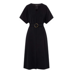 Belted Midi Crepe Dress