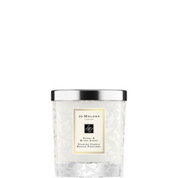 Peony & Blush Suede Home Candle with Lace Design