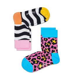 Two-Pack Zebra & Leopard Print Kids Socks