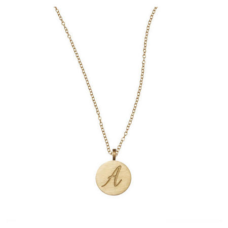 9K Gold Initial Disc Necklace