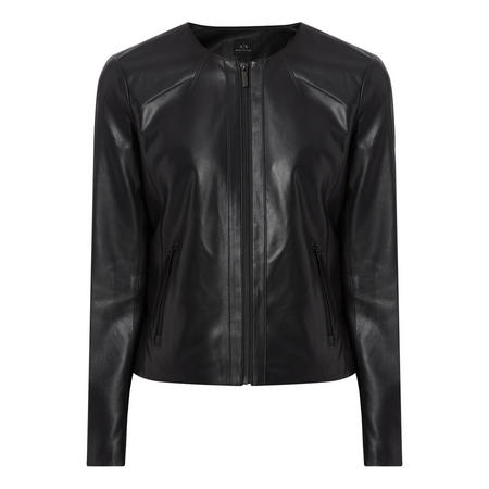 Faux-Leather Crop Jacket