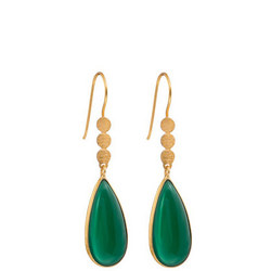 Three Little Disc Earrings with Green Onyx