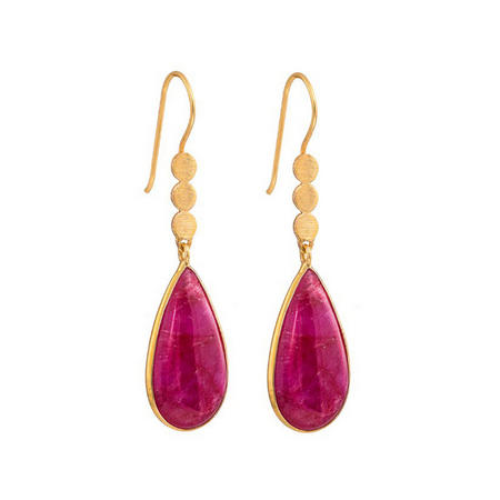 Three Little Disc Earrings with Ruby