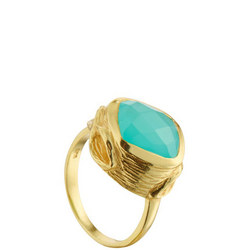 Coral Oyster Ring with Aqua