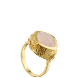 Coral Oyster Ring with Rose Quartz