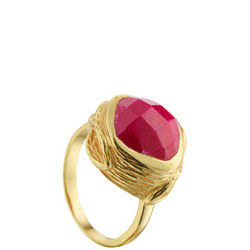 Coral Oyster Ring with Ruby