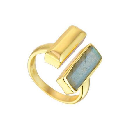 Manhattan Bar Ring with Labradorite
