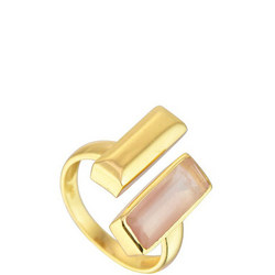 Manhattan Bar Ring with Rose Quartz