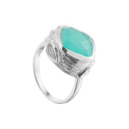 Coral Oyster Ring with Aqua Chalcedony