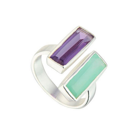 Manhattan Ring with Aqua and Amethyst