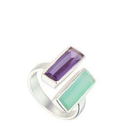 Manhattan Ring with Aqua and Amethyst