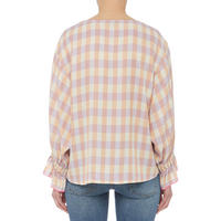 Ruffle Sleeve Checked Top