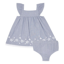 Two-Piece Embroidered Dress and Bloomers Set