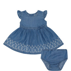 Embroidered Denim Dress And Bloomers Set Baby