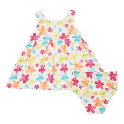 Two-Piece Flower Print Dress and Bloomers Set