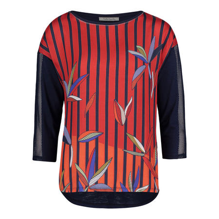 Stripe Leaf Print T-Shirt