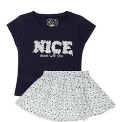 Heart Print T-Shirt And Skirt Set