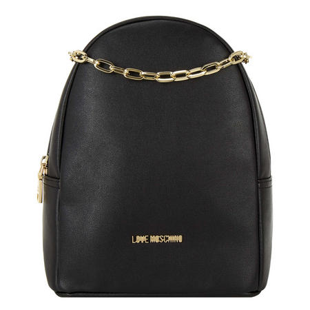 Chain Faux Leather Backpack