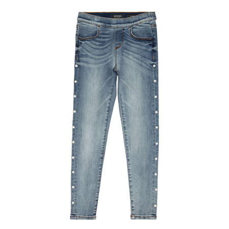 Faux-Pearl Washes Jeans