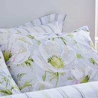 Cottonsoft Artic Poppy Oxford Pillowcase White/Grey