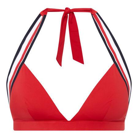 Stripe Halterneck Bikini Top