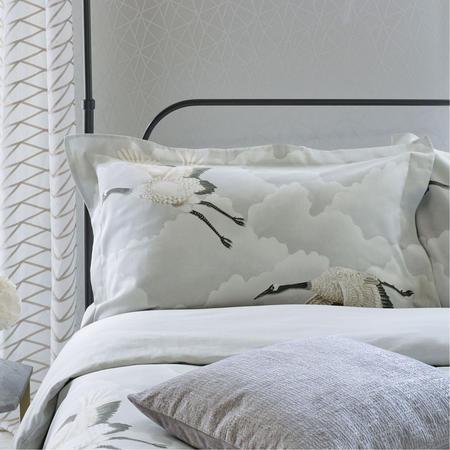 Cranes in Flight Cushion Silver