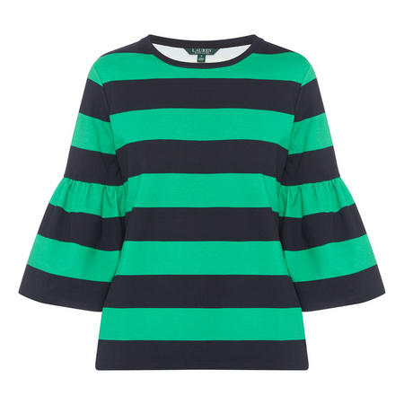 Striped Frill Sleeve Top