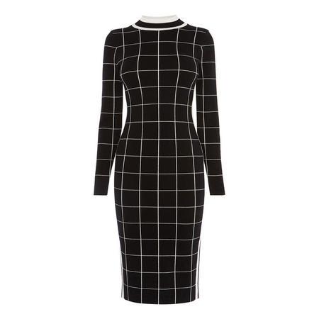 Checked Bodycon Midi Dress