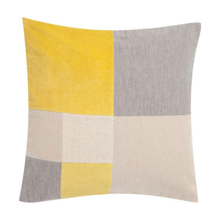Cut & Sew Check Cushion Yellow/Multi 50 x 50cm